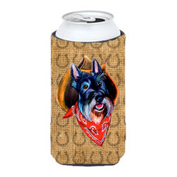 Caroline's Treasures - Scottish Terrier Dog Country Lucky Horseshoe Tall Boy Koozie Hugger - Scottish Terrier Dog Country Lucky Horseshoe Tall Boy Koozie Hugger Fits 22 oz. to 24 oz. cans or pint bottles. Great collapsible koozie for Energy Drinks or large Iced Tea beverages. Great to keep track of your beverage and add a bit of flair to a gathering. Match with one of the insulated coolers or coasters for a nice gift pack. Wash the hugger in your dishwasher or clothes washer. Design will not come off.