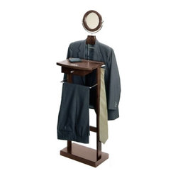 """Winsome Trading Inc - Valet Stand With Wood Base - This Valet stand keeps great organization of your suit dress shirt shoes and accessories within reach. Sturdy construction with rich espresso finish. Features includes coat/shirt hanger bar mirror and drawer. Finsih: Dark EspressoOverall Dimensions: 55.83"""" H x 19.84"""" W x 14.51"""" DWeight: 20 lbs."""
