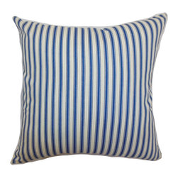 """The Pillow Collection - Xander Stripes Pillow Blue 18"""" x 18"""" - This stripes throw pillow is a lovely decor piece that you can add to your space. The vertical stripes print pattern alternates in blue and white colors. This accent pillow is perfect for coastal, contemporary and modern decor styles. You can combine this square pillow with other pillows in similar colors. The materials used in crafting this 18"""" pillow is made from 100% soft cotton fabric. Hidden zipper closure for easy cover removal.  Knife edge finish on all four sides.  Reversible pillow with the same fabric on the back side.  Spot cleaning suggested."""