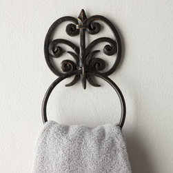 """Horchow - Fleur-De-Lis Towel Hook - Fleur-de-lis bathroom wall accessories are crafted of iron with a burnished gold finish. All have two screw holes for mounting except the towel bar, which has four. Hardware not included. Imported. Towel ring (featured), 6.5""""W x 3.25""""D x 11""""T. Towel..."""