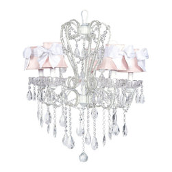 White carousel chandelier w/ plain pink shades tied with a white sash. - So sweet!  This white 5 light carousel chandelier with plain pink shades tied with white sashes will look beautiful in your child's room!