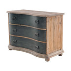 Bowfront 3 Drawer Chest with Metal Drawers - Taking inspiration from the offices of architects from a bygone era, Bowfront Chest is made of reclaimed pine and delivers today's functionality with an inspired historical design. Bowfront has a slightly curved front and bun feet added to its appeal. Due to the nature of the wood, flaws and slight cracks are natural and considered part of its character. They do no affect structural support or durability.