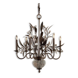 """Uttermost - Cristal De Lisbon Light Chandelier - This is art. This is """"I've up and moved into the chateau of my dreams and I'm never coming back"""" art. The rows of crystals will capture the light and reflect it into the room. This is over-the-top in a really good way!"""