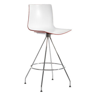 Molina Stool - plywood seat on metal frame in nickel or black finish
