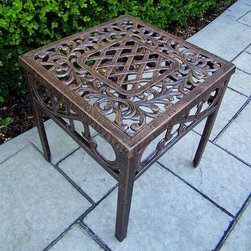 Oakland Living - Square Filigree End Table w Rustproof Antique - High-grade polyester powder coat finish. Durable, rustproof performance, even in coastal and harsh weather areas. Brass and stainless steel assembly hardware. Hardware ensures sturdiness, durability and security for years. Long lasting finish maintains appearance for years to come. Minimal maintenance. Electrostatic application of the powder coat ensures a smooth, even finish. Quick and easy assembly is assured with step-by-step assembly instructions included. Double QC quality program in which each piece is assembled prior to being unassembled and packaged assures that all parts are present and that the product will assemble easily. Constructed of cast aluminum. Antique Bronze finish. 17.5 in. W x 17.5 in. D x 19 in. H (15 lbs.)