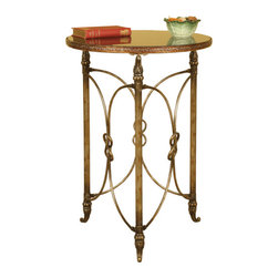 Welcome Home Accents - Metal & Black granite top side table - With an eye catching style and a sturdy construction,  this metal side table with a granite top makes it the perfect addition to your home. Decorative scrolled metalwork adorn this distressed copper finished side table. Features a round black granite top with golden banding and ornate reeded legs. Some assembly required. Dust with a dry cloth.