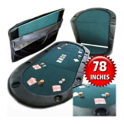 Trademark Poker - Texas Hold'em Poker Folding Tabletop with Cup - Made of quality foam and felt. Light-weight casino-quality folding table top. 37 in. L x 4.5 in. W x 28 in. H (41 lbs.)Enjoy your poker party and play on a casino-like playing surface using this Texas Hold'em folding table top.