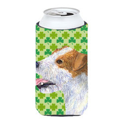 Caroline's Treasures - Jack Russell Terrier St. Patrick's Day Shamrock Tall Boy Koozie Hugger - Jack Russell Terrier St. Patrick's Day Shamrock Portrait Tall Boy Koozie Hugger Fits 22 oz. to 24 oz. cans or pint bottles. Great collapsible koozie for Energy Drinks or large Iced Tea beverages. Great to keep track of your beverage and add a bit of flair to a gathering. Match with one of the insulated coolers or coasters for a nice gift pack. Wash the hugger in your dishwasher or clothes washer. Design will not come off.