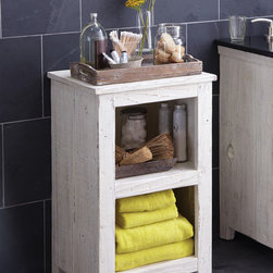 Native Trails Americana Cubby in Whitewash - Character is a thing of the past. Handcrafted by American artisans from reclaimed wood, Americana Cubby has a character as rich as its history. Its beautifully textured wood, rescued from American structures of the past: old barns, homesteads, and fencing, has stood the test of time. This heirloom cubby features open shelving, ideal for storing linens in the bathroom; in other areas of the home they can be used for displaying photos, books or other items. Pair with Americana Hutch to create a storage tower. Available in Chestnut, Whitewash, Anvil, and Driftwood finishes.