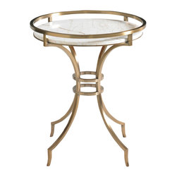 Lexington - Aquarius Onyx Lamp Table - Onyx stone top over an antique gold finished metal base. Complements the 4211-608 Onyx Cocktail Table.