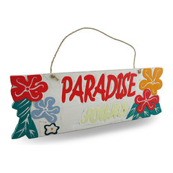 "Zeckos - Weathered Finish Wooden ""Paradise Found"" Sign with Rope Hanger - This cheerfully delightful 'Paradise Found' sign is a wonderful addition to your home bar, patio, pool or restaurant with a lightly weathered finish, it features a natural rope hanger, bright coral-red, orange and light gray hibiscus flowers on a crisp white background. It's great to hang on fences, posts, walls and doors at 15.5 inches (39 cm) long, 5.5 inches (14 cm) high and 1/2 inch (1 cm) deep. This piece is a great gift for your friend with a tropical themed porch sure to brighten their day"