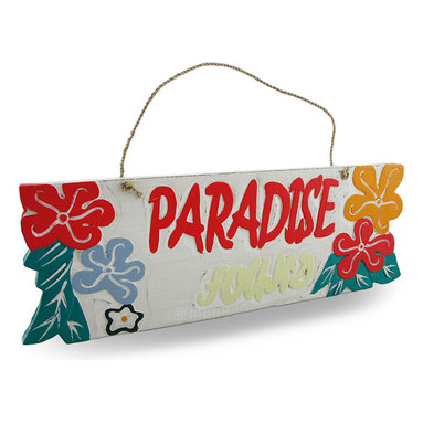 """Zeckos - Weathered Finish Wooden """"Paradise Found"""" Sign with Rope Hanger - This cheerfully delightful 'Paradise Found' sign is a wonderful addition to your home bar, patio, pool or restaurant with a lightly weathered finish, it features a natural rope hanger, bright coral-red, orange and light gray hibiscus flowers on a crisp white background. It's great to hang on fences, posts, walls and doors at 15.5 inches (39 cm) long, 5.5 inches (14 cm) high and 1/2 inch (1 cm) deep. This piece is a great gift for your friend with a tropical themed porch sure to brighten their day"""
