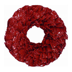 Magnolia Company - Red Lacquer Wreath, 18x18 - This fun wreath is hand made of dried magnolia leaves. It will last for many seasons and will be the talk of your neighborhood. If used outdoors, it can be displayed in direct sunlight. Please keep out of direct moisture.