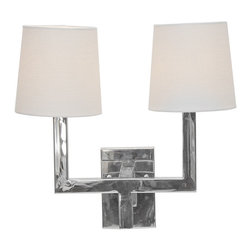 Worlds Away - Worlds Away Nickel Plated 2 Arm Wall Sconce KENNEDY N - Nickel plated 2 arm sconce with white linen shades. Ul approved for two 40 watt candelabra bulbs