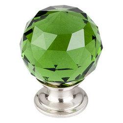 "Top Knobs - Green Crystal Knob 1 3/8"" w/ Brushed Satin Nickel Base - Width - 1 3/8"", Projection - 1 6/8"", Base Diameter - 15/16"""