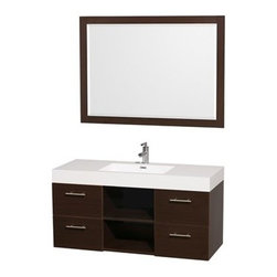 "Wyndham Collection(R) - Stephanie 48"" Wall-Mounted Bathroom Vanity Set with Integrated Sink by Wyndham C - The Wyndham Collection is an entirely unique and innovative bath line. Sure to inspire imitators, the original Wyndham Collection sets new standards for design and construction. The Stephanie wall-mounted vanity family delivers beautiful wood grain exteriors offset by modern brushed chrome drawer pulls. Each vanity provides a full complement of storage area with soft-close drawers and center open shelves. This vanity family is available with sleek integrated counter and sinks to fulfill your design dreams. A wall-mounted vanity leaves space in your bathroom for you to relax. The simple clean lines of the Stephanie wall-mounted vanity family are no-fuss and all style.Stephanie Bathroom Vanities are available in multiple sizes and finishes.FeaturesConstructed of beautiful veneers over the highest grade MDF, engineered for durability, and to prevent warping and last a lifetime 8-stage preparation, veneering and finishing processHighly water-resistant low V.O.C. sealed finishUnique and striking contemporary designModern Wall-Mount DesignMinimal assembly requiredDeep Doweled DrawersFully-extending soft-close drawer slides Backsplash not availableAcrylic-Resin integrated sink Rectangular Sink Single-hole faucet mountFaucet(s) not includedMirror includedMetal exterior hardware with brushed chrome finish Four (4) functional drawers Two (2) open space storage shelves Plenty of storage space Plenty of counter spaceIncludes drain assemblies and P-traps for easy assembly How to handle your counter Spec Sheet for Vanity Installation Guide for Vanity Spec Sheet for Mirror Installation Guide for Mirror Spec Sheet for Amare Rotating Wall Cabinet with Mirror (WC-RYV202) Spec Sheet for Amare Bathroom Wall Cabinet (WC-RYV205) Installation Guide for Amare Bathroom Wall Cabinet (WC-RYV205) Spec Sheet for Amare Bathroom Wall Cabinet (WC-RYV207-WC)Installation Guide for Amare Bathroom Wall Cabinet (WC-RYV207-WC)"