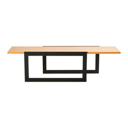 Stylo Furniture and Design - Industrial Steel and Wood Coffee Table - Steel yourself for a fresh change in your favorite modern setting. A pair of rectangle frame legs supports a simple wood surface for a look that's sleek, elegant and, though simple, a testament to your refined esthetic.