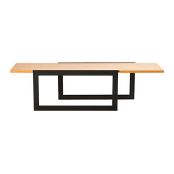 Black Steel Loop Leg and Wood Coffee Table