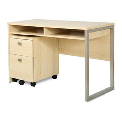 South Shore - Desk in Natural Maple - File cabinet, tools and accessories not included. Contemporary style. Non-toxic laminated particle boards. Metal leg support with satin nickel finish. Large open space in back for passing electrical cords. All surfaces are laminated. Warranty: Five years. Made in Canada. Assembly required. 47.5 in. W x 19.5 in. D x 29.5 in. H (65 lbs.). Assembly Instructions