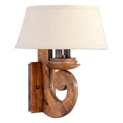 Quorum Lighting - Quorum Lighting Ashford Traditional Wall Sconce X-32-2-3655 - You may have a cabin in the woods or a home refuge from the pressures of the modern world and the Quorum Lighting Ashford Traditonal wall sconce blends perfectly with that that setting. It has a candelabra base with a provincial finish, so you can enjoy the natural finish of the wood and the iron accents.