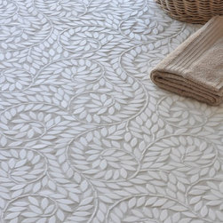 Silk Road Collection - Jacqueline Vine - Jacqueline Vine, a natural stone waterjet mosaic shown in tumbled Thassos, is part of the Silk Road Collection by Sara Baldwin for New Ravenna Mosaics.