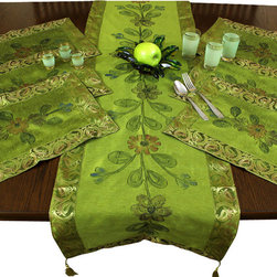 Banarsi Designs - Hand-Painted 7-Piece Placemat & Table Runner Set - Let your table sparkle ...