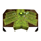 Banarsi Designs - Hand Painted 7-Piece Placemat & Table Runner Set, Citrus Green - Discover our beautiful, artistic, and luxurious Hand Painted Deluxe 7-Piece Placemat Set from our exclusive Banarsi Designs collection.