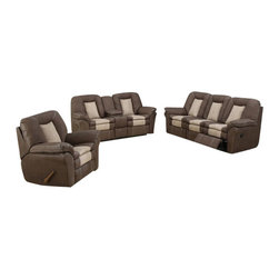 "AC Pacific - 2 pc Carson two tone chocolate and stone bonded leather upholstered sofa and LS - 2 pc Carson two tone Chocolate and Stone bonded leather upholstered sofa and love seat with recliners and center console.  This set features the sofa with recliners on both ends and love seat with recliners on both ends and a center console with cup holders.  sofa measures 91"" x 38"" x 40"" H.  love seat measures 80"" x 38"" x 40"" H.  Some assembly required."