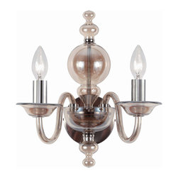 Crystorama - Crystorama 9842-CH-CG Harper 2 Light Wall Sconces in Polished Chrome - Cognac is everywhere in fashion. In jewelry, in clothing, in shoes, hand bags and other accessories. The colors are straight off the runway.