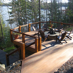 FIRST Place - $500 Jeff - Eagle River, WI - Atlantis Rail Systems - RailEasyTM Cable Railing System with a custom wooden frame and deck lighting