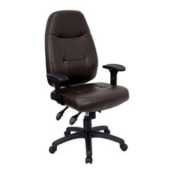 Flash Furniture - Contemporary Executive High Back Office Chair - Handle business and everyday tasks in style from the comforts of this executive desk chair. High-back styling with rounded edging along with molded armrests are contemporary accents. Leather upholstery contributes to the professional styling. It's an ergonomic choice you'll enjoy all day long. Multi-function ergonomic high back office chair. Thickly padded and contoured seat and back. Built-in lumbar support. Height adjustable arms with polyurethane padded arm rests. Multi-function, triple paddle control mechanism. Pneumatic seat height adjustment. Back height adjustment. Infinite lock back angle control. Infinite lock seat angle adjustment. Espresso Brown leather upholstery. Heavy duty nylon base. Dual wheel casters. Meets or exceeds ANSI/BIFMA standards. Pictured in Espresso Brown. Seat: 21.5 in. W x 19 in. D. Back: 21 in. W x 25 in. H. Seat Height: 19 in. - 23 in. H. Arm Height: 6 in. - 8.5 in. H (from Seat). Overall: 27 in. W x 24 in. D x 43.5 in. - 47.5 in. H (42 lbs.)