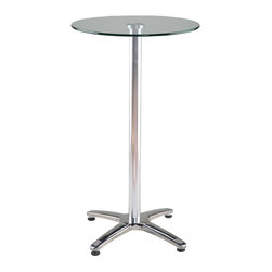 Eurø Style - Amber Bar Table with Clear Tempered Glass Top - Made of a round clear tempered glass top and aluminum column, the stable base of this Amber Bar Table with Clear Tempered Glass Top - Eurø Style comes in stainless steel.