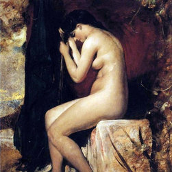"William Etty Seated Female Nude - 18"" x 24"" Premium Archival Print - 18"" x 24"" William Etty Seated Female Nude premium archival print reproduced to meet museum quality standards. Our museum quality archival prints are produced using high-precision print technology for a more accurate reproduction printed on high quality, heavyweight matte presentation paper with fade-resistant, archival inks. Our progressive business model allows us to offer works of art to you at the best wholesale pricing, significantly less than art gallery prices, affordable to all. This line of artwork is produced with extra white border space (if you choose to have it framed, for your framer to work with to frame properly or utilize a larger mat and/or frame).  We present a comprehensive collection of exceptional art reproductions byWilliam Etty."