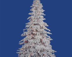 """Vickerman A893682M 9' x 67"""" Prelit Mini Lights Flocked Spruce Christmas Tree - Get 10% discount on your first order. Coupon code: """"houzz"""". Order today."""
