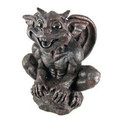 Large Daddy Gargiggle Laughing Gargoyle Statue Father - This adorable laughing `Daddy` gargoyle statue is part of a series of statues called `Gargiggles`. Made of cold cast resin, the statue stands 13 3/4 inches tall, is 12 inches wide and 7 3/4 inches deep. He has beautiful glass eyes that seem to follow you through a room. He`ll make a great addition to your home, and makes a great gift for friends and family.