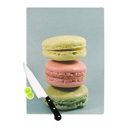 """Kess InHouse - Nastasia Cook """"Blue Macarons"""" Dessert Cutting Board (11"""" x 7.5"""") - These sturdy tempered glass cutting boards will make everything you chop look like a Dutch painting. Perfect the art of cooking with your KESS InHouse unique art cutting board. Go for patterns or painted, either way this non-skid, dishwasher safe cutting board is perfect for preparing any artistic dinner or serving. Cut, chop, serve or frame, all of these unique cutting boards are gorgeous."""