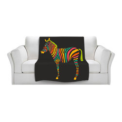 DiaNoche Designs - Throw Blanket Fleece - Zebra II - Original Artwork printed to an ultra soft fleece Blanket for a unique look and feel of your living room couch or bedroom space.  DiaNoche Designs uses images from artists all over the world to create Illuminated art, Canvas Art, Sheets, Pillows, Duvets, Blankets and many other items that you can print to.  Every purchase supports an artist!