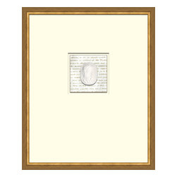 Soicher-Marin - Script with Intaglio B - Giclee Print/Intaglio with a mid century modern antique distressed bronze wood frame with fly speckle antique with a gold key line around image on a brown/tan mat. Includes Glass, eyes and wire. Made in the USA. Wipe down with damp cloth