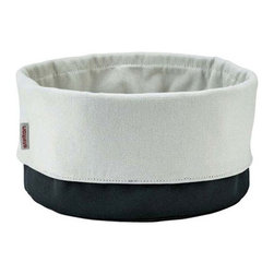 "Stelton - Stelton Bread Bag / Bread Basket - Black & White - Magnet closing top allows to close and store the bread but can also be folded to an untraditional bread basket in different sizes. Keeps bread fresh and crisp. Made of 100% cotton, approved for food. Dimensions: 9.20"" W x 9.20"" high (full size expanded). Machine wash. Designed by Klaus Rath, 2008."