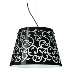 Besa Lighting - Besa Lighting 1KV-4340BD-LED Amelia 3 Light LED Cable-Hung Pendant - Amelia features a tapered drum shape, open at the top, that fits beautifully in transitional spaces. Our Black Damask glass is an art nouveau creation in hand-blown glass. The inside of the glass is etched so the pattern appears frosted. The background is painted in layers with black and white on the inside so the outer surface remains glossy. The cable pendant fixture is equipped with three (3) 10' silver aircraft cables and 10' AWM cordset, and a low profile flat monopoint canopy.Features: