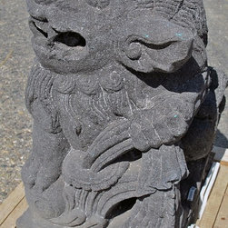 """Chinese Foo Dogs, Hand Carved Lava Stone - A beautifully detailed pair of Chinese Foo Dogs, hand carved from Lava Stone.  12"""" wide x 15"""" deep x 20"""" tall, approximately 135lbs each.  (This picture shows the male Foo Dog)"""
