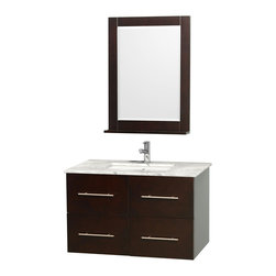 Wyndham Collection - 36 in. Vanity Set in Espresso Finish - Includes matching mirror with shelf. Faucets not included. Two functional drawer. Two functional door. Plenty of counter and storage space. Brushed chrome exterior hardware finish. Single faucet hole mount can be drilled for 3-hole faucets on site. Concealed soft-close door hinges. Fully-extending under-mount soft-close drawer slides. Deep doweled drawers. Unique and striking contemporary design. Highly water-resistant low V.O.C. sealed finish. 12-stage wood preparation, sanding, painting and finishing process. Lifetime warping prevention. Square porcelain undermount sink. White Carrera top. Made from solid oak wood. Vanity: 36 in. W x 21.5 in. D x 22.75 in. H. Mirror: 24 in. W x 5 in. D x 32 in. H. Handling Instructions. Assembly Instructions - Vanity. Assembly Instructions - Countertop. Assembly Instructions - Sink. Assembly Instructions - MirrorSimplicity and elegance combine in the perfect lines of the Centra vanity by the (No Suggestions) collection. If cutting-edge contemporary design is your style then the Centra vanity is for you - modern, chic and built to last a lifetime. Available with green glass, pure white man-made stone, ivory marble or white Carrera marble counters, and featuring soft close door hinges and drawer glides, you'll never hear a noisy door again! Meticulously finished with brushed chrome hardware, the attention to detail on this beautiful vanity is second to none.