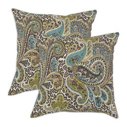 Chooty & Co. - Paisley Aqua, Brown, Tan and White Chocolate Self Backed  Pillow, Set of Two - - Zippered closure  - Removable Sleeve  - Product Depth: 17  - Product Width: 17  - Product Height: 4  - Product Weight: 6  - Material: 100% Cotton and Polyester Chooty & Co. - PSET17K2160