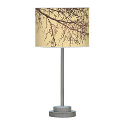 jefdesigns - Branch 2 Stem Table Lamp - You'll take a shine to this long-stemmed table lamp with its cocoa-colored tree bows arching across its golden circular shade. Created by Joe Futschik, it's a winning combination of modern, polished metal and linen.