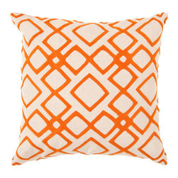 Surya Rugs - 22-Inch Square Pumpkin and Peach Cream Patterned Linen Pillow Cover with Down In - - 22 x 22 100% Linen Pillow Cover w/ Down Insert.   - For more than 35 years Surya has been synonymous with high quality innovation and luxury.   - Our designers have masterfully created some of the most cutting edge and versatile pieces to bring out the best in every room.   - Encompassing their expert understanding of the latest trends in fashion and interior design each product is a perfect combination of color pattern and texture to accommodate the widest range of tastes.   - With Surya the best in design and quality is at your fingertips.   - Pantone: Pumpkin Peach Cream.   - Made in India.   - Care Instructions: Spot Clean.   - Cover Material: 100% Linen.   - Fill Material: Down. Surya Rugs - COM015-2222D