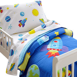 Wildkin - Olive Kids Out of this World Toddler Comforter - This bed is out of this world! Your child's room will blast off with fun! The comforter/quilt is a field of stars, moons and planets with rocketships and ufo's. Super soft, the quilt has outline stitiching and is backed in solid blue.