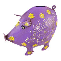 Cool Purple Pig Metal Money Bank Distressed Finish - This beautiful purple pig money bank gives a great antique touch to almost any room. Made of welded metal, the pig has a wonderful distressed purple enamel finish, that gives it an aged look, and had hand-painted off white enamel accents. The bank measures 8 inches tall, 9 1/2 inches long and 4 inches wide. It has a plastic stopper on the bottom, so you can easily retrieve your coins. This bank makes a great gift for pig lovers.