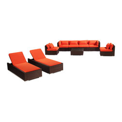 """Kardiel - Modify-It Outdoor Patio Furniture Sofa Chaise Lounge Maui 9pc Set Wicker, Orange - Dressed for the evening or sunbathing mid-day, the spectacular Maui 9-piece patio set lounges as well as it entertains. The centerpiece is the modern Grande' length 4 seat sofa. Effortlessly accommodate additional guests with the matching set of armless side chairs. Introduce the ritual of relaxed lounging to your day with a set of 2 personal chaise sun lounge adjustable beds. A tempered glass top coffee table completes the collection. The design origins are Clean European. The elements of comfort are inspired by the relaxed style of the Hawaiian Islands. The Aloha series comes in many configurations, but all feature a minimalist frame and thick, ample modern cube cushions. The back cushions are consistent in shape, not tapered in to create the lean back angle. Rather the frame itself is specifically """"lean tapered"""" allowing for a full cushion, thus a more comfortable lounging experience. The cushion stitch style utilizes smooth and clean hand tailoring, without extruding edge piping. The generously proportioned frame is hand-woven of colorfast, PE Resin wicker. The fabric is Season-Smart 100% Outdoor Polyester and resists mildew, fading and staining. The ability to modify configurations may tempt you to move the pieces around... a lot. No worries, Modify-It is manufactured with a strong but lightweight, rust proof Aluminum frame for easy handling."""