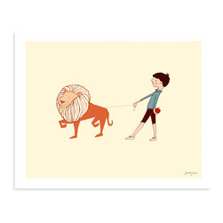 "Sarah Jane Studios - Take Me For A Walk, 16""x20"" - Inspired by 1950s-style picture book drawings, Sarah Jane's illustrations have an irresistible innocence to them. You'll love this one for its clean, simple style and friendly view of the world. The boy's pet lion is not only charming, but a great excuse to incorporate some orange into your room."