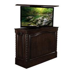 Cabinet Troniix Hidden TV Lift Cabinet - TV Lift Cabinet Sm. Coronado, USA Made, French Walnut, Foot of Bed, Swivel - Coronado French Walnut Distressed